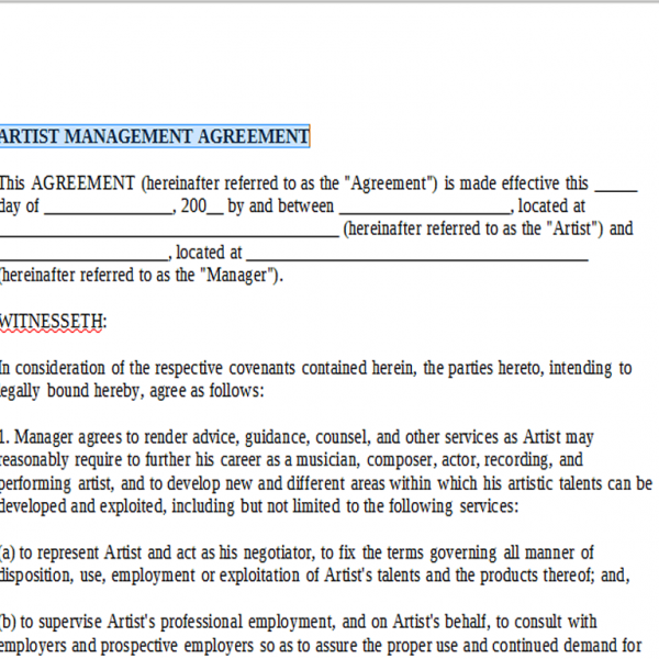 Artist Management Agreement Onlinemusiccontracts