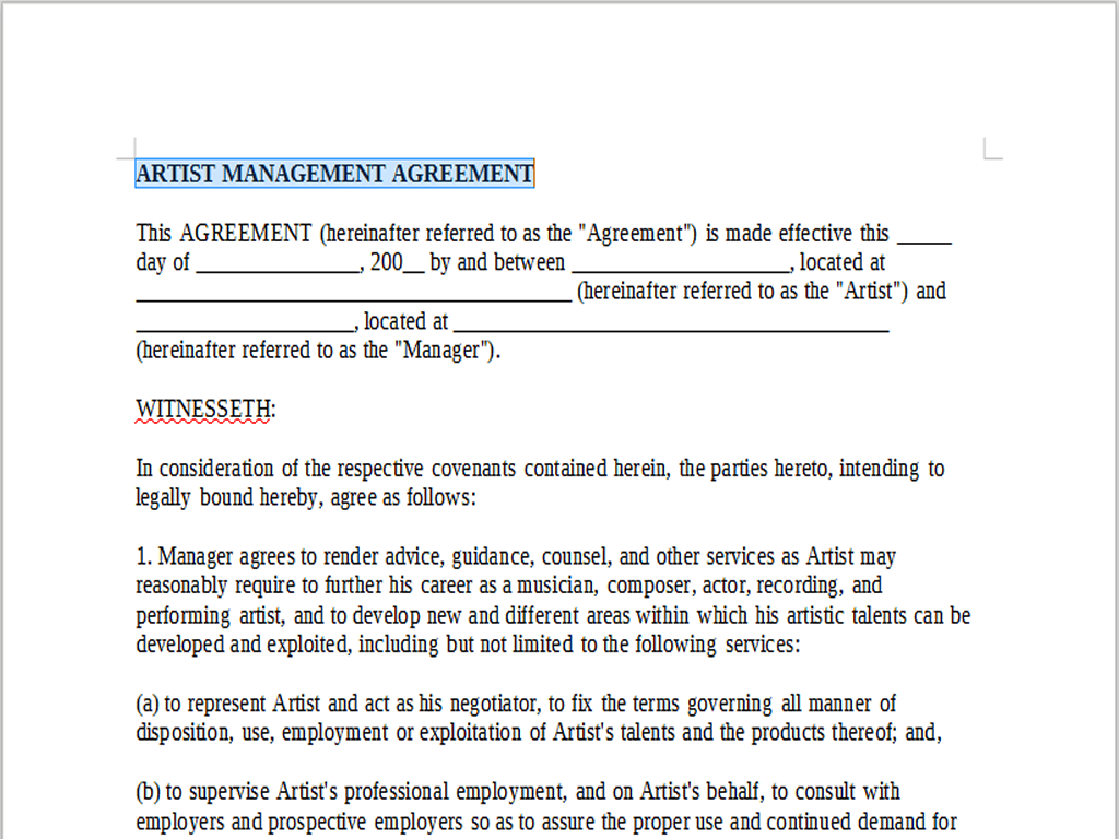 ARTIST MANAGEMENT AGREEMENT – LineMusicContracts