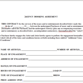 agency booking agreement