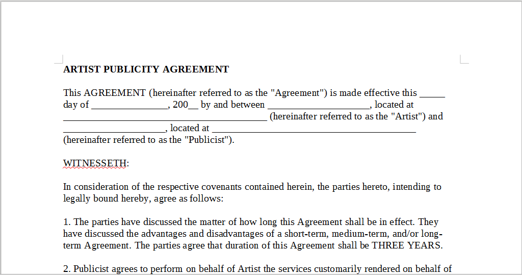 Artist Publicity Agreement Onlinemusiccontracts