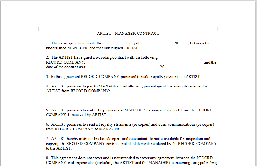 ARTIST – MANAGER CONTRACT – LineMusicContracts