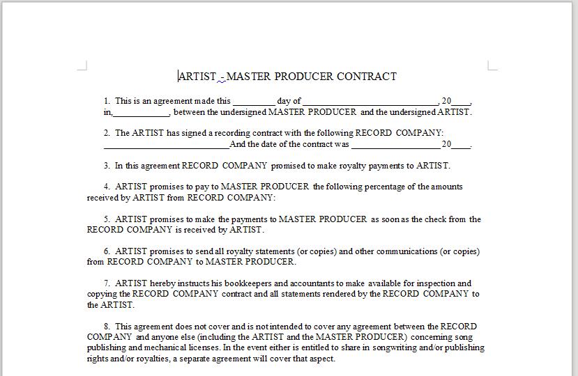 ARTIST U2013 MASTER PRODUCER CONTRACT