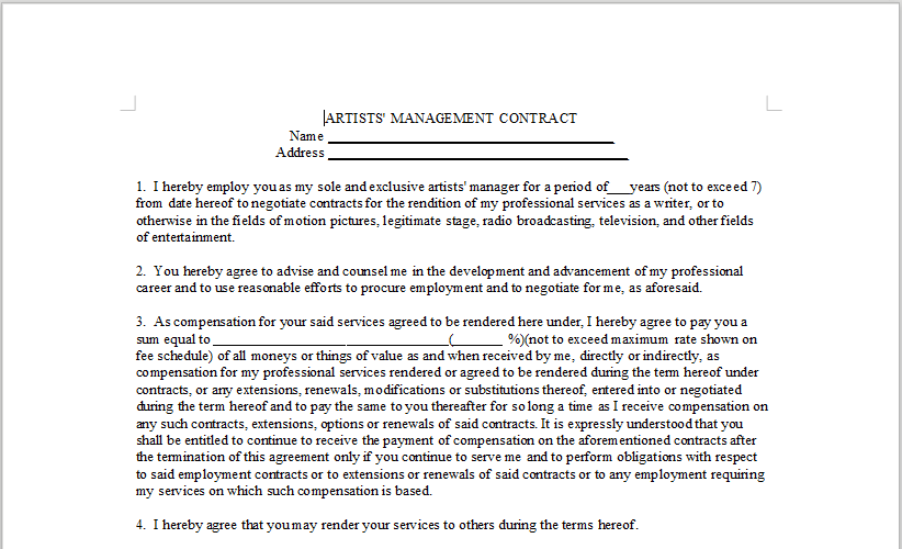 ARTISTS' MANAGEMENT CONTRACT – LineMusicContracts