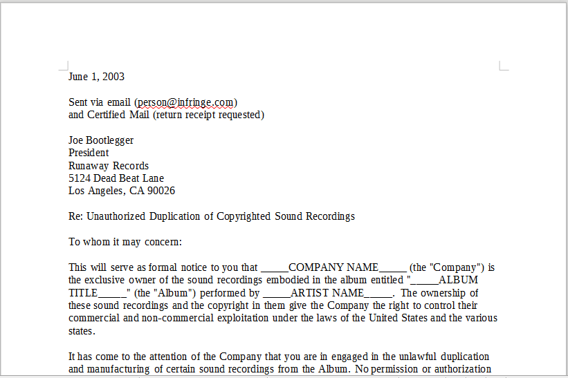 Copyright Cease And Desist Letter from onlinemusiccontracts.com