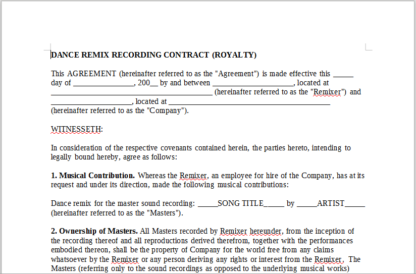 DANCE REMIX RECORDING CONTRACT (ROYALTY)