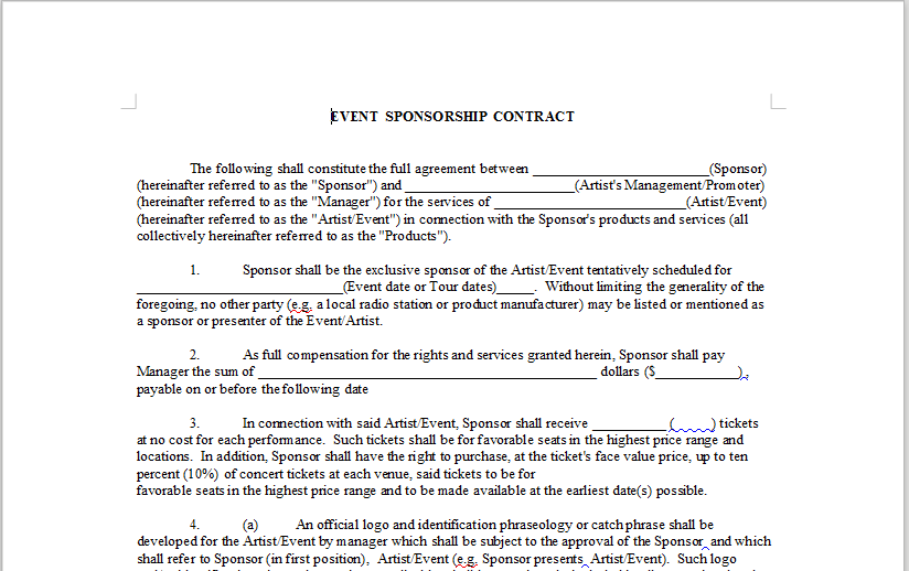 Event Sponsorship Contract Onlinemusiccontracts