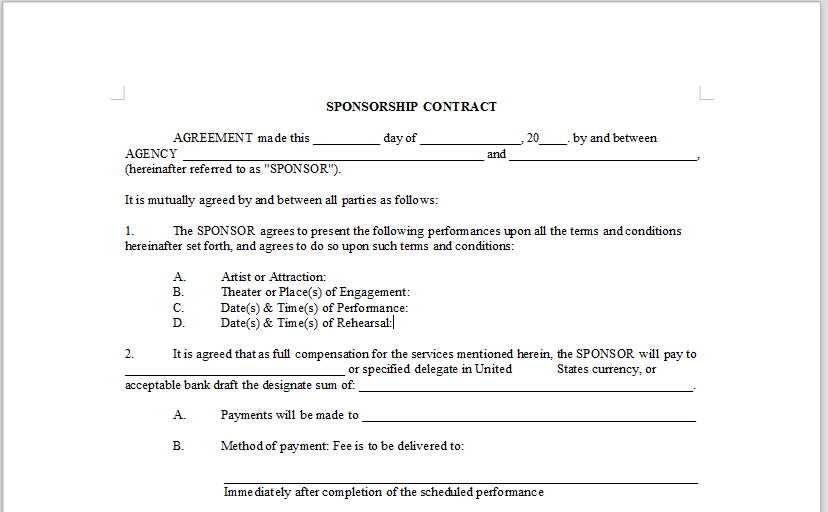 SPONSORSHIP CONTRACT OnlineMusicContractsCom – Sponsorship Contract