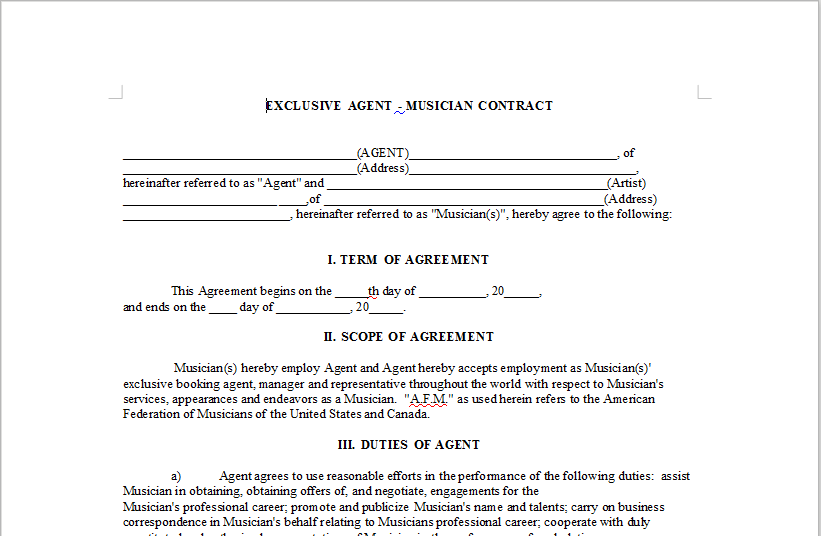 Exclusive Agent Musician Contract Onlinemusiccontracts