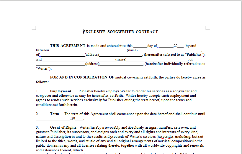 Exclusive Songwriter Contract Onlinemusiccontracts