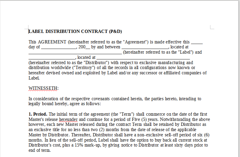 Label Distribution Contract Pd Onlinemusiccontracts