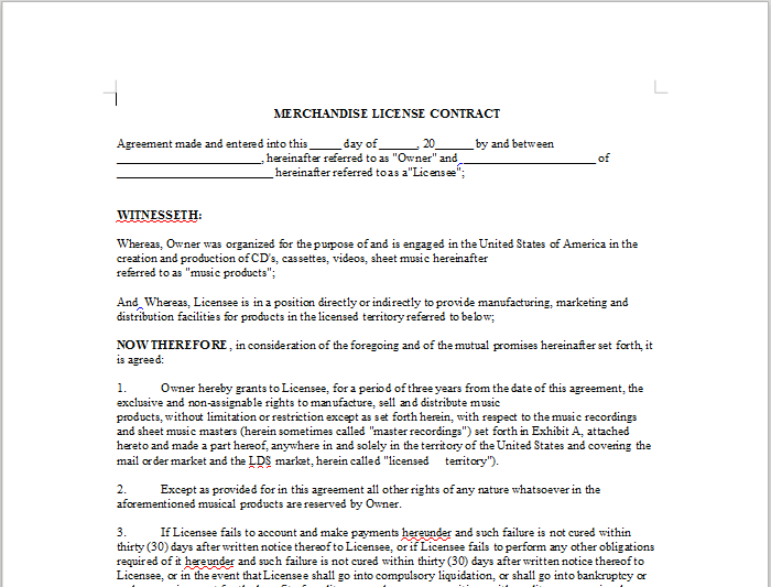 Merchandise License Contract