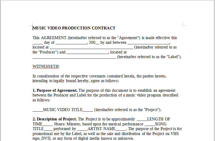 MUSIC VIDEO PRODUCTION CONTRACT OnlineMusicContractsCom – Music Agreement Contract