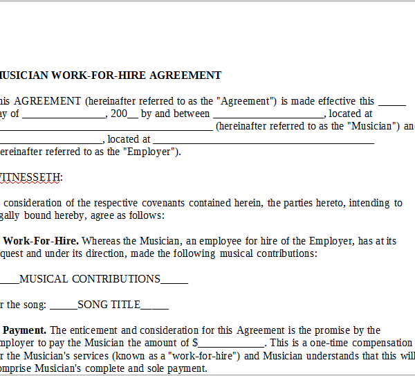 Musician Work For Hire Agreement Onlinemusiccontracts