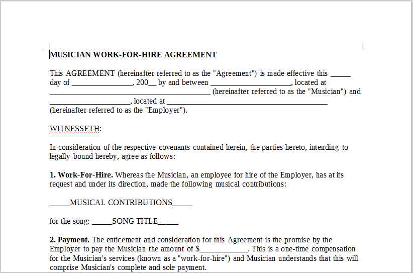 MUSICIAN WORK FOR HIRE AGREEMENT – LineMusicContracts