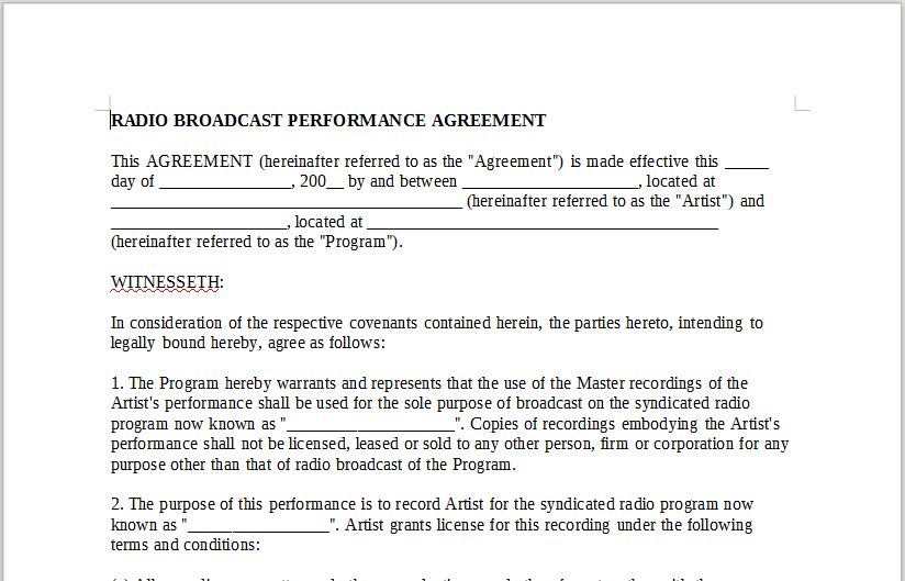Radio Broadcast Performance Agreement Onlinemusiccontracts