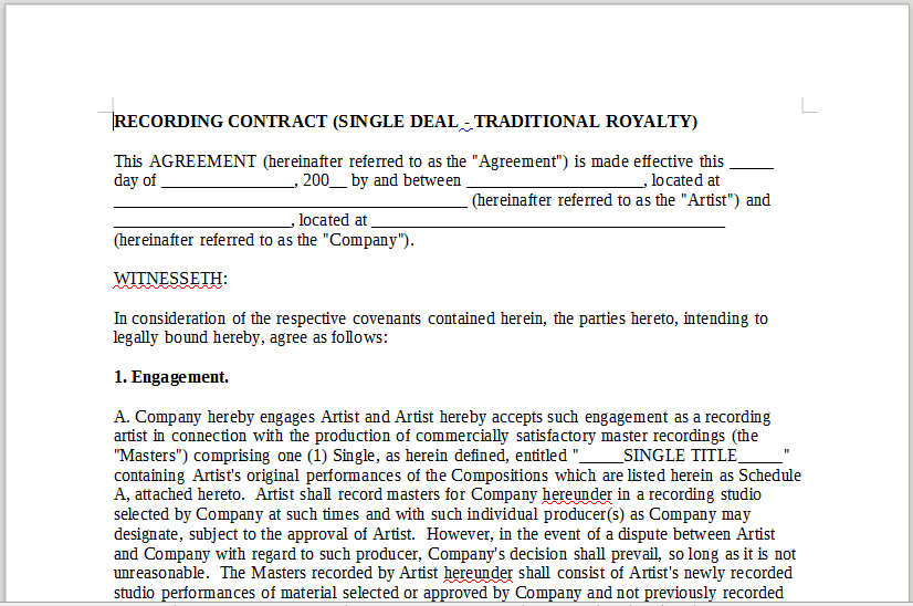Single Deal Royalty – LineMusicContracts