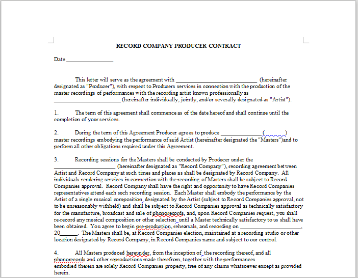 ENGINEER WORK FOR HIRE AGREEMENT – LineMusicContracts