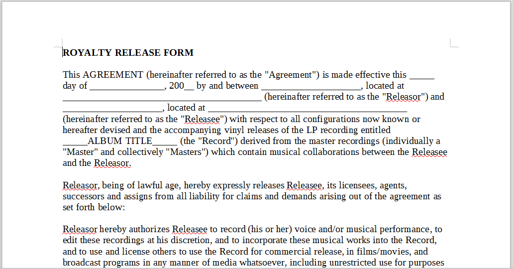 ROYALTY RELEASE FORM – LineMusicContracts