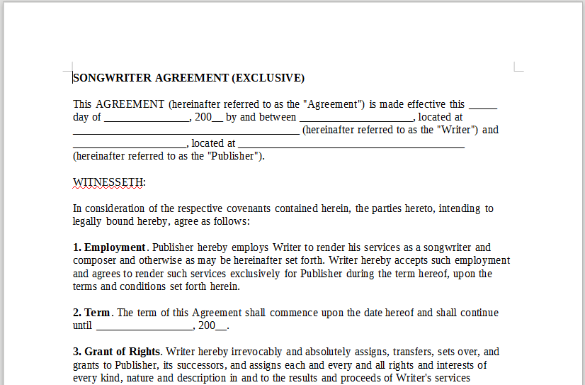 Songwriter Agreement Exclusive Onlinemusiccontracts
