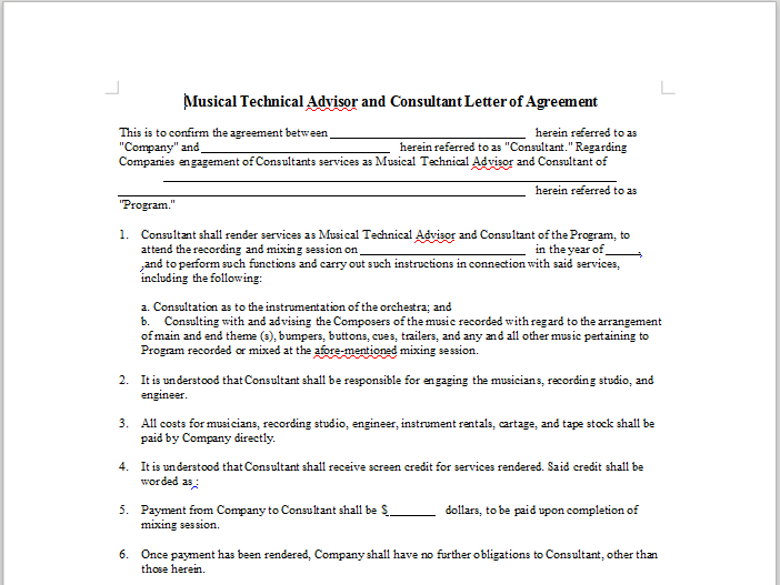 Musical Technical Advisor and Consultant Letter of Agreement – Music Agreement Contract