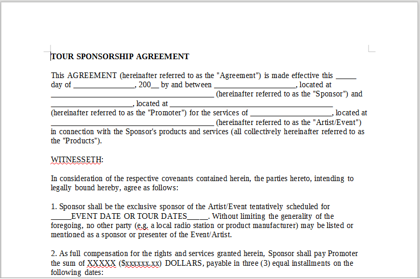 tour sponsorship agreement � onlinemusiccontractscom