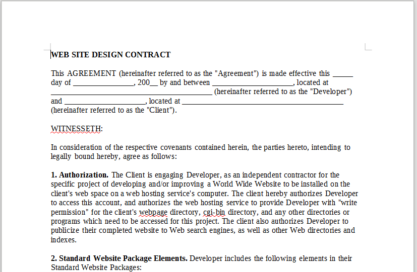 WEBSITE DESIGN CONTRACT – LineMusicContracts